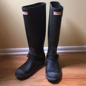 Hunter Black Matte Boots, Size 39